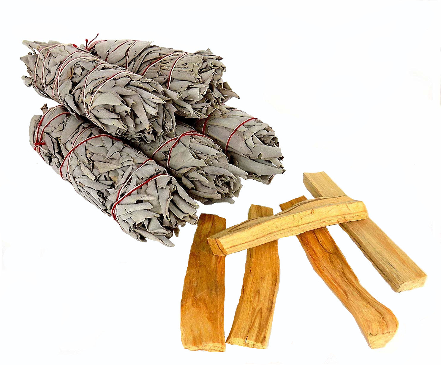 White California Sage Smudge Sticks & Palo Santo Wood Kit - 5 of each - Perfect for replenishing a smudge kit or sharing with loved ones - premium grade