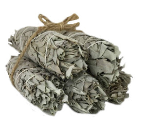 "White California Sage Smudge Sticks - FIVE 4"" Sticks - CA Premium Grade - Perfect for banishing negativity!"