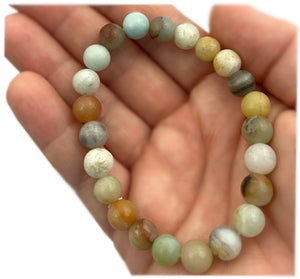 Amazonite Bracelet - 8mm Beads - Crystal Healing Bracelet - Perfect for inspiring hope, builds confidence, calms, and attracts friendly energies - Chakra Palace