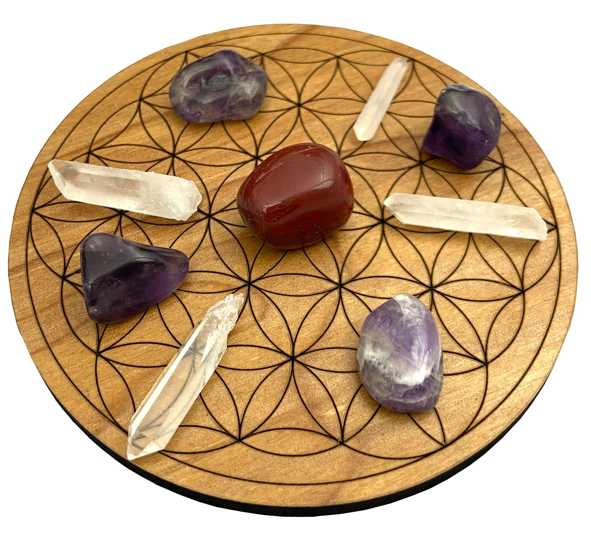 Crystal Grid for Love - Wood Flower of Life Grid - Crystals Included - Perfect for healing and self love.