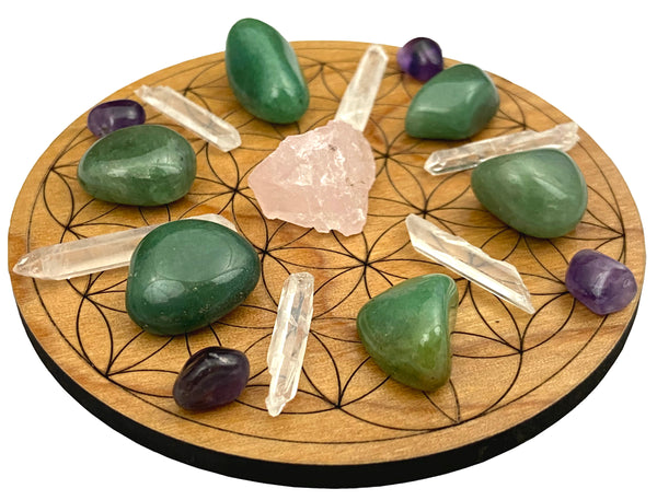 Crystal Grid for Love - Wood Flower of Life Grid - Crystals Included - Perfect for manifesting love into your life!