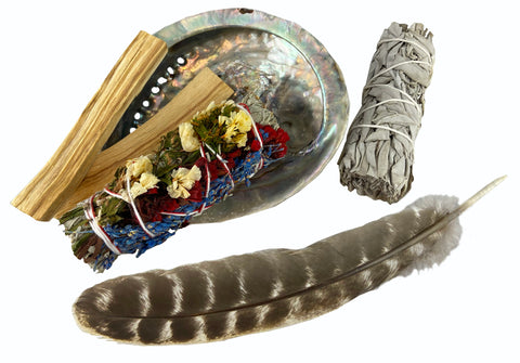 Smudge Kit Gift Set - Floral Sage, White Sage, Palo Santo, Abalone Shell, & Feather - Wonderful for purification, removing negativity, and protection
