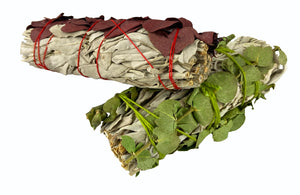 White Sage with Eucalyptus - 2 Sticks - Green & Red Eucalyptus is wonderful for protection, focus, survival, & strength