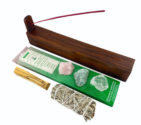 Heart Chakra Incense Kit - With Sage, Palo Santo, Crystals - Perfect for heart chakra mediation, manifesting love, & self love