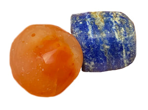 Lapis Lazuli & Carnelian - 2 Chakra Crystals Set - Wonderful combination for confidence, energy, empowerment, & leadership