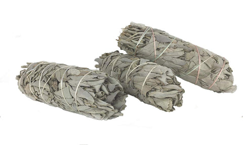"White California Sage Smudge Sticks - Three 4"" Sticks -  CA Premium Grade - Perfect for banishing negativity!"