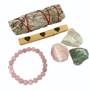 Crystals for Love & Attracting Love - Crystal Kit - Rose Quartz, Green Aventurine, Clear Quartz, Bracelet, Palo Santo, & Sage - NEW