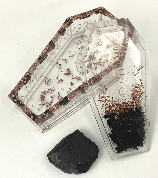 Orgone Coffin - Crystal Generator (2 Pieces with bonus black tourmaline chunk) - Black Tourmaline, Copper, & Clear Quartz for manifestation, blocking negative energies, & attract etheric energy.