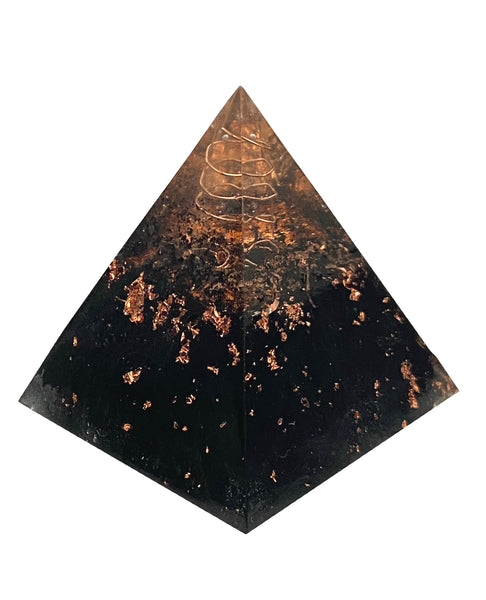 Orgone Pyramid - Crystal Generator - Black Tourmaline, Copper, & Clear Quartz for manifestation, blocking negative energies, & attract etheric energy.