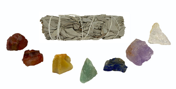 Raw Chakra Healing Crystals - 7 Chakra Stones with White California Sage - Chakra Crystal Set - Wonderful for balancing your body and mind