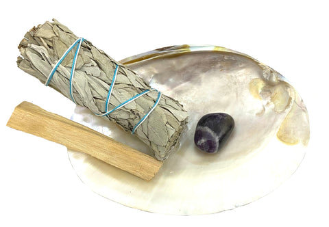 Smudge Kit: River Shell, White CA Sage, Palo Santo Stick & Amethyst - Perfect for clearing negative energy
