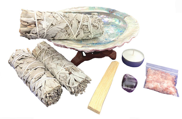 Smudge Kit for Healing and Purifying - 10 Piece kit is designed to bring peace and positivity into your life. Sage, Palo Santo, Abalone Shell, Chakra Crystal