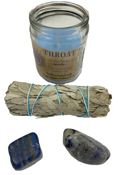 Chakra Candle Kit - Throat - Open your throat chakra for with crystals for expressing yourself