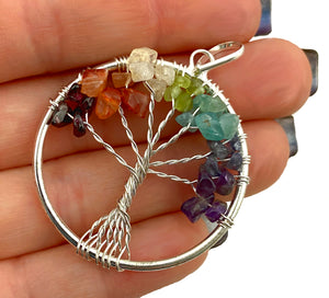 Tree of Life Chakra Pendant - Polished Crystals for each of your chakras - wear to maintain your spiritual  balance