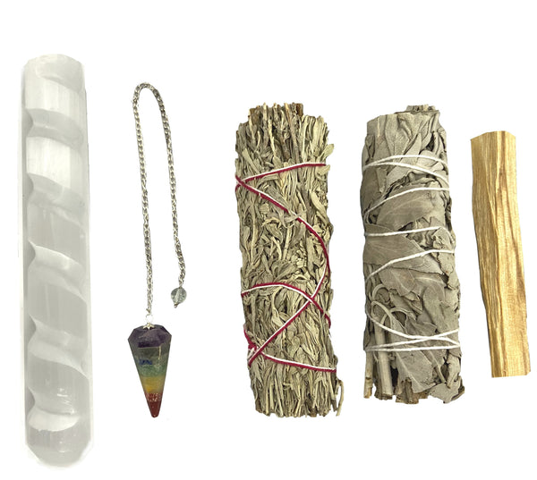 Smudge Kit for Crystal Healing - Perfect for protection, seeking answers, and clearing energies