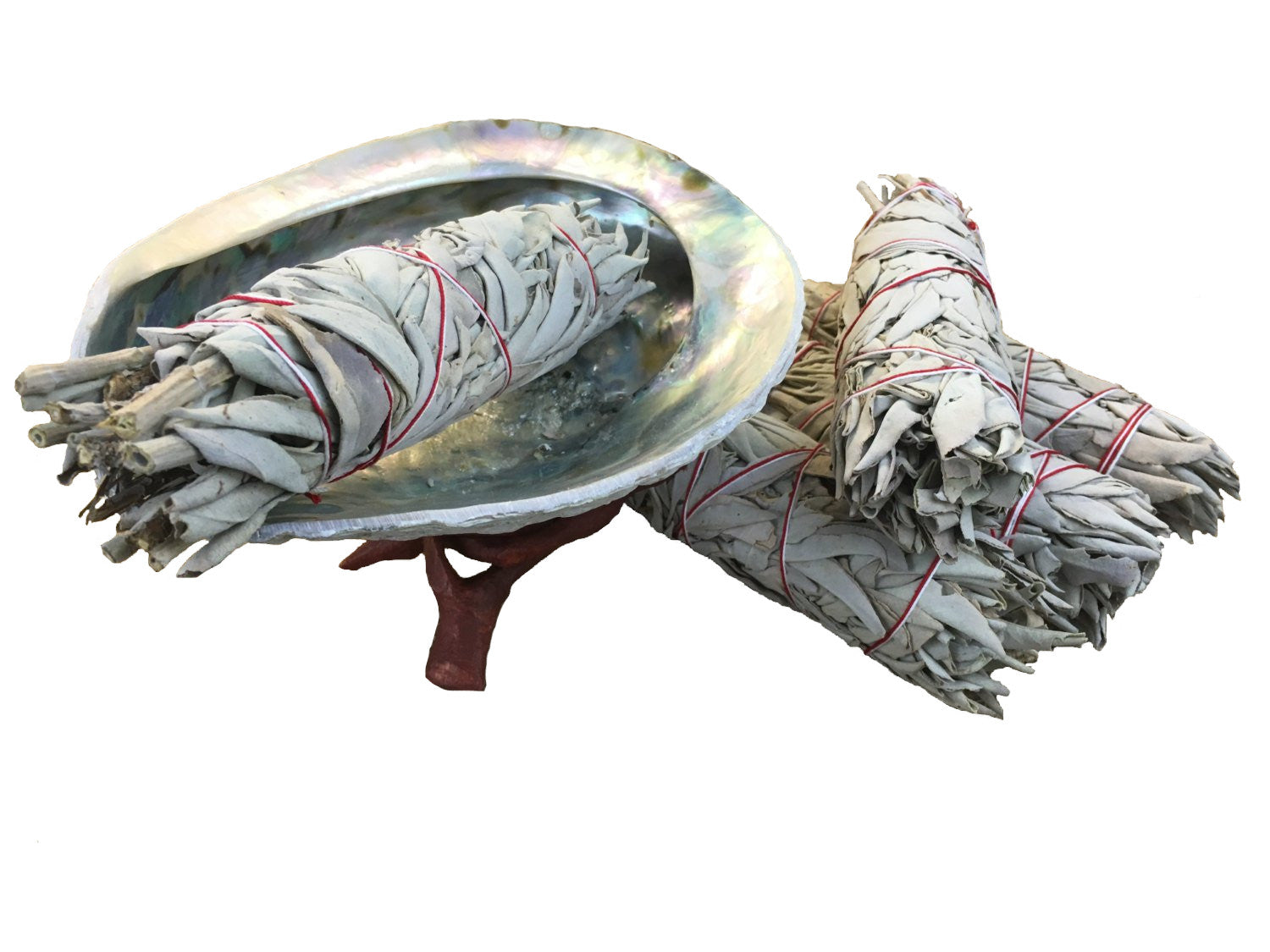 "Extra Large Abalone Shell Smudge Kit - 6+"" Shell, 5 Sticks of 4"" White California Sage, Wood Stand - premium grade"