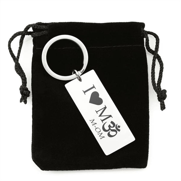 "I Love MOM Keychain - ""I love Mॐ M-om"" Perfect Mother's Day gift for the Meditating Mom!"