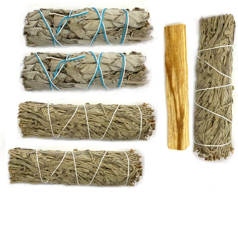 "Blue Sage Smudge Sticks 3-pack Kit -  4"" with White Sage Bundle 2-pack 4"" and Palo Santo Stick 4"" - Instructions"