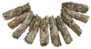 "White California Sage Smudge Sticks - Economy Quality - Ten 4"" Sticks - Not in the best shape but gets the job done - Perfect for banishing negativity!"