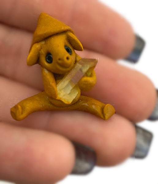 Tommyknocker Troll Clay Pendant - Holding quartz crystal - Brings good luck & fun to wear!