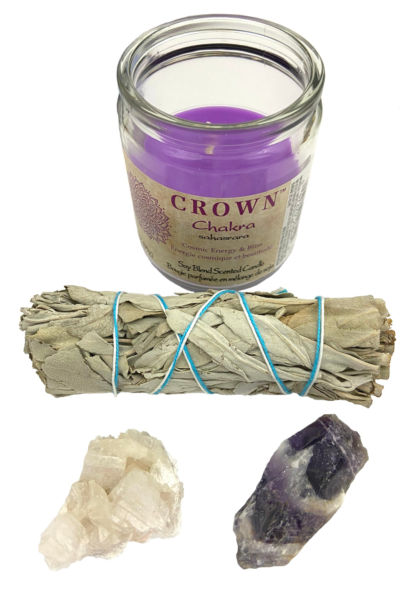 Chakra Candle Kit - Crown - Open your crown chakra for enlightenment & spirituality with crystals