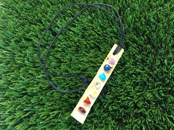 Palo Santo Necklace - Adorned with Chakra Crystals - Cleanse and protect your chakras
