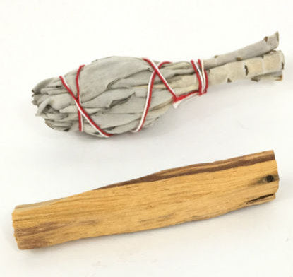 "One 3"" White California Sage + One 2-3"" Palo Santo Stick - Great to use together for smudging"