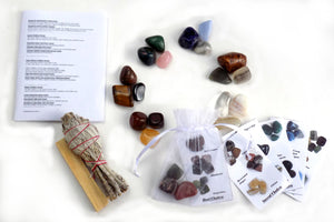21 Stone Chakra Smudging Kit - Tumbled Chakra Crystals, White California Sage, Palo Santo, Crystal Identification Cards + Instructions