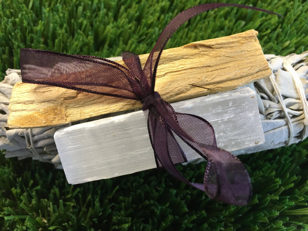 "4"" White Sage, Selenite, & Palo Santo - Triple threat to smudge and cleanse your space"