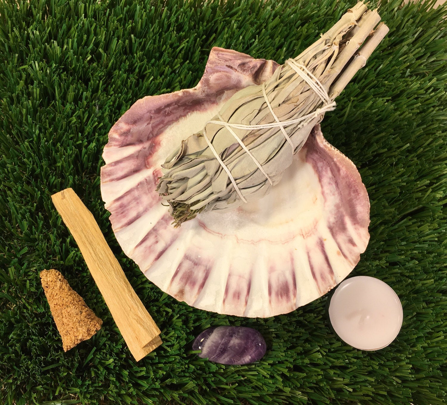 "Smudge Kit: 5"" Lion Paw Shell, 5"" White CA Sage w/ Lavender, Palo Santo Stick & Cone, Amethyst, + Instructions"