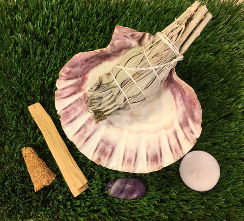 Smudge Kit:  Lion Paw Shell, White CA Sage, Palo Santo Stick & Cone, Amethyst, + Instructions