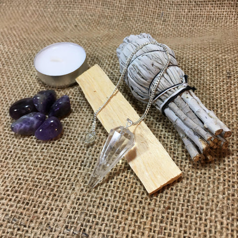 Clear Quartz Pendulum with White California Sage, Palo Santo Wood, Amethyst Crystals, Pendulum Chart, + Instructions