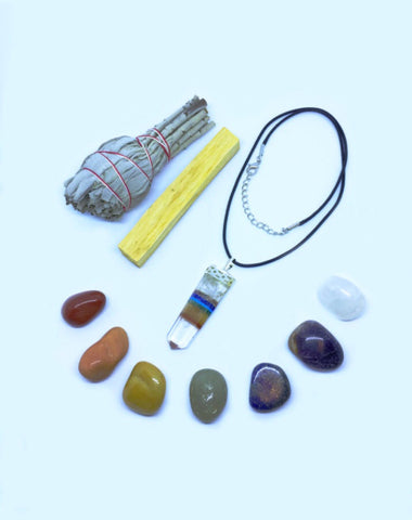 Chakra Crystal Healing Kit: Clear Quartz Chakra Necklace with 7 Chakra Crystals, White California Sage, Palo Santo, & Instructions