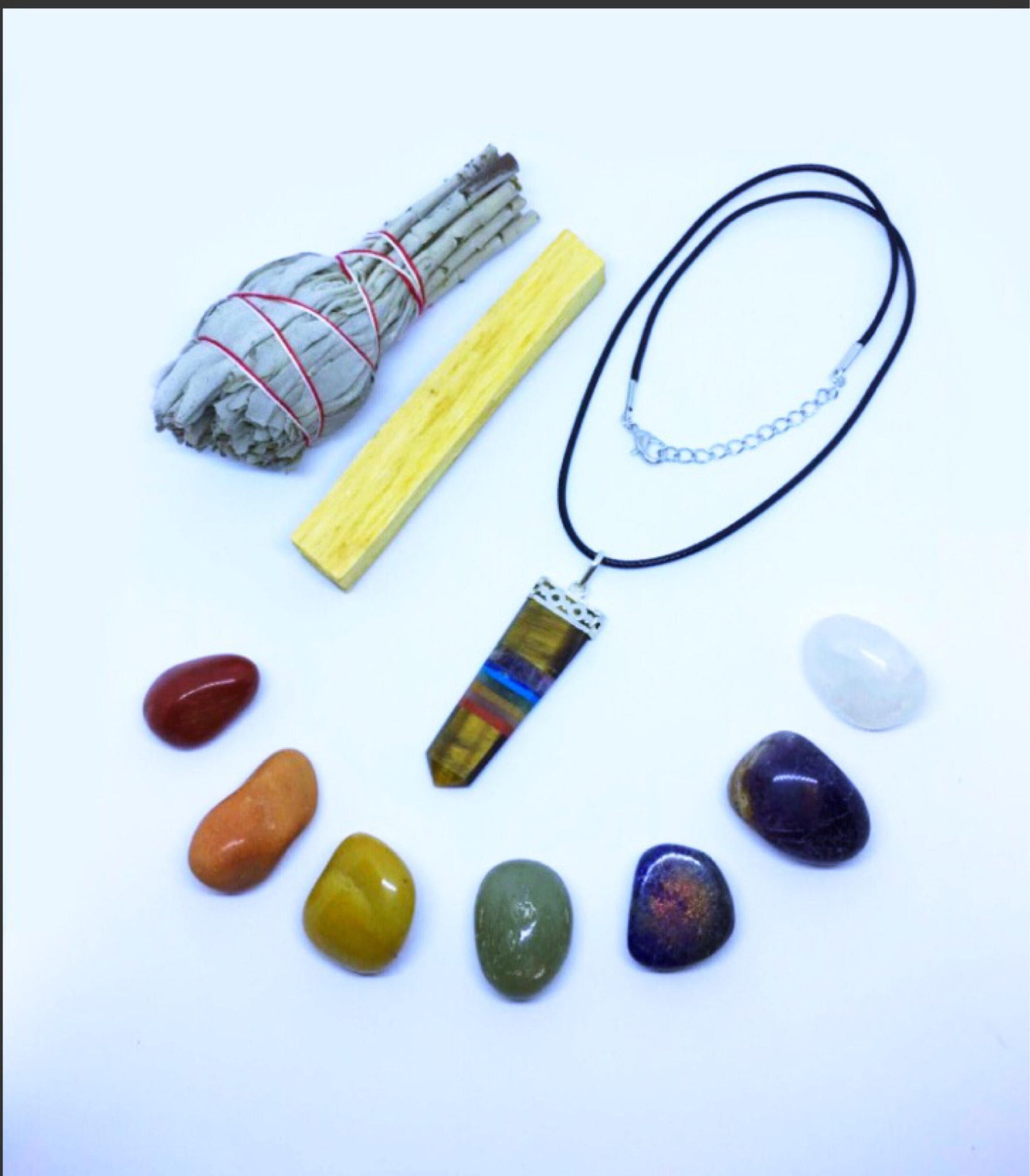 Chakra Crystal Healing Kit: Tigers Eye Chakra Necklace with Chakra stones, White CA sage, Palo Santo Wood, + Instructions - Reiki Infused
