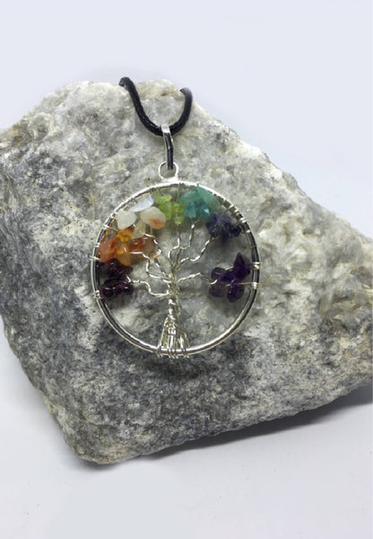 Chakra Crystal Healing Set: Chakra Tree of Life necklace with 7 chakra crystals, White California Sage, Palo Santo, & Instructions