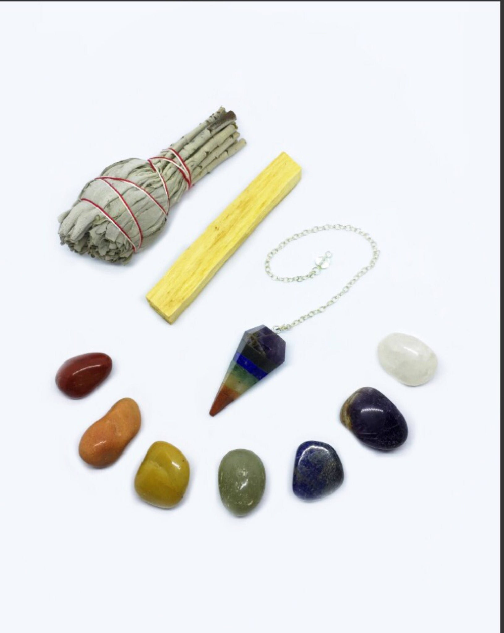 Chakra Crystal Healing Kit: Chakra Pendulum with Chakra Crystals, White California Sage, Palo Santo, + Instructions -Balance Your Chakras