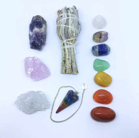 12 Piece Healing Crystals Chakra Kit - 7 Tumbled Chakra Stones, Chakra Pendulum, Apophyllite, Rose Quartz, Raw Amethyst, Sage + Instructions