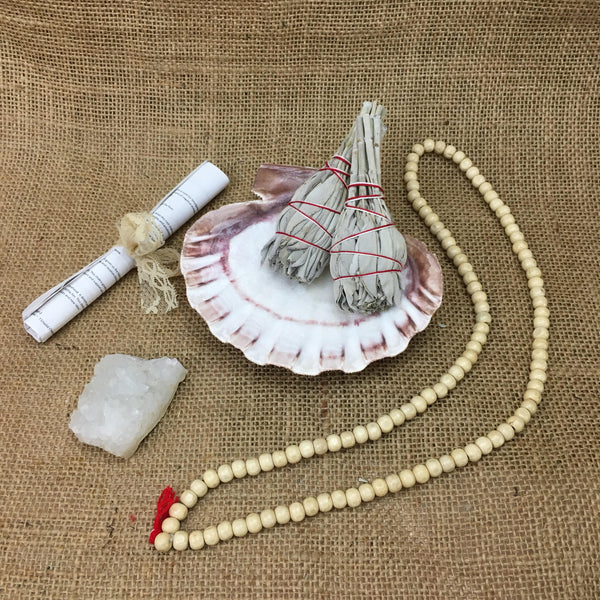 Meditation Kit with Lionpaw Shell, 2 White California Sage, 1 Rainbow Quartz Cluster, Prayer Beads + Instructions