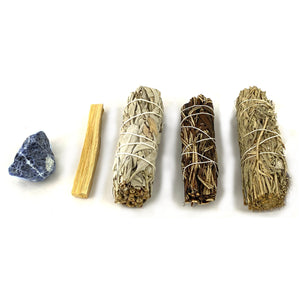 Throat Chakra Healing Energy Raw Crystal Kit - with Variations of sage. Perfect for throat chakra work &  protection from negativity