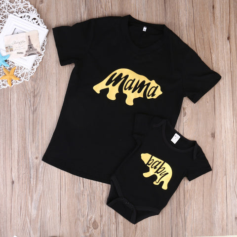 T-Shirt mama et baby motif ours or - 6/18M - S/XL