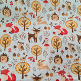 Rolled Changing Mat woodland animals fox deer owl hedgehog rabbit print fabric The Clever Cactus sustainable eco-friendly