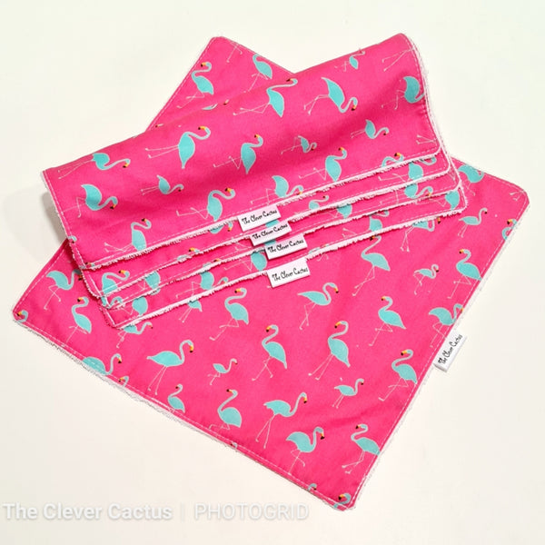 Neon Pink Flamingo Washable Kitchen Roll The Clever Cactus eco-friendly sustainable fabric