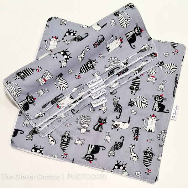 Grey Kitty Cats Washable Kitchen Roll