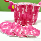 Pink Kitty Cat Small Teeny Tub Storage With Face Wipes