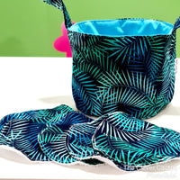 Blue Green Fern Print Small Teeny Tub Storage With Face Wipes eco friendly sustainable The Clever Cactus