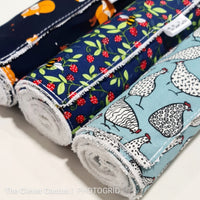 Navy Strawberry Bees Washable Kitchen Roll
