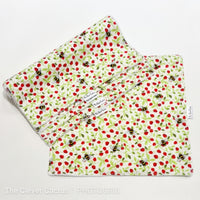 Ivory Strawberry Bees Washable Kitchen Roll The Clever Cactus eco-friendly sustainable fabric