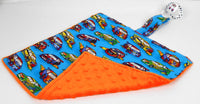 Hot Rod Cars with Orange Dummy Snuggle Blanket