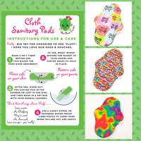 CSP Cloth Sanitary Pad Starter Pack Standard Size The Clever Cactus sustainable eco friendly instruction leaflet