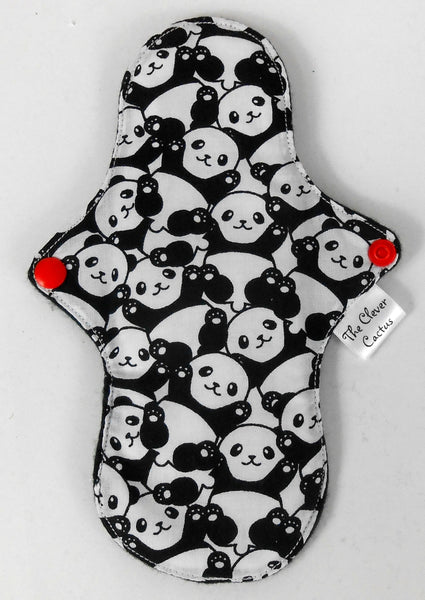Petite Extra Protection/Night Pad eco friendly sustainable fabric panda print The Clever Cactus